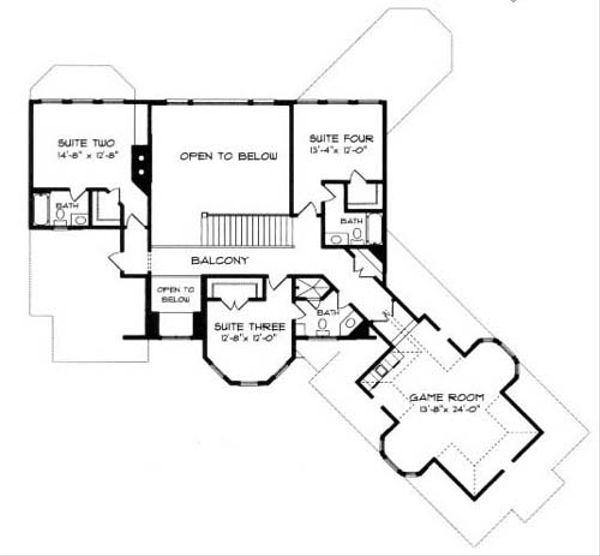 European Floor Plan - Upper Floor Plan Plan #413-109