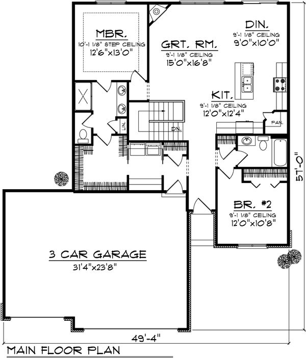 Ranch Floor Plan - Main Floor Plan Plan #70-1020