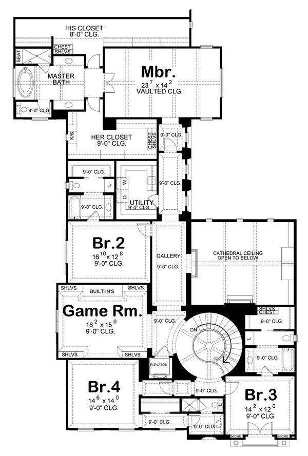 Mediterranean Floor Plan - Upper Floor Plan Plan #20-2150