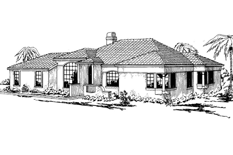 Mediterranean Style House Plan - 3 Beds 2 Baths 1637 Sq/Ft Plan #124-224 Exterior - Front Elevation