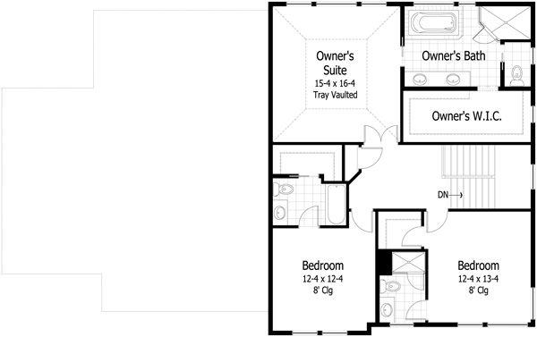 Craftsman Floor Plan - Upper Floor Plan Plan #51-422