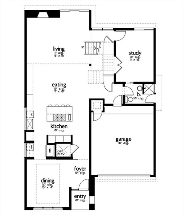 Modern Floor Plan - Main Floor Plan Plan #449-9