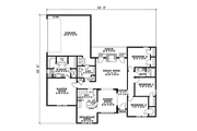 European Style House Plan - 4 Beds 2 Baths 1854 Sq/Ft Plan #17-1033 Floor Plan - Main Floor Plan