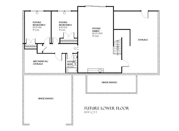 Ranch Floor Plan - Lower Floor Plan Plan #901-63