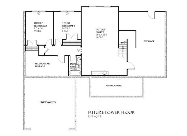 Ranch Floor Plan - Lower Floor Plan Plan #901-63