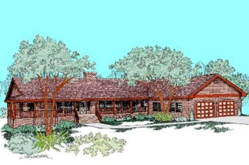 Ranch Exterior - Front Elevation Plan #60-412 - Houseplans.com