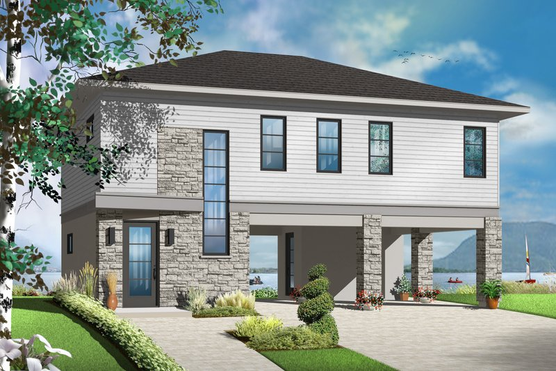 Architectural House Design - Contemporary Exterior - Front Elevation Plan #23-2591