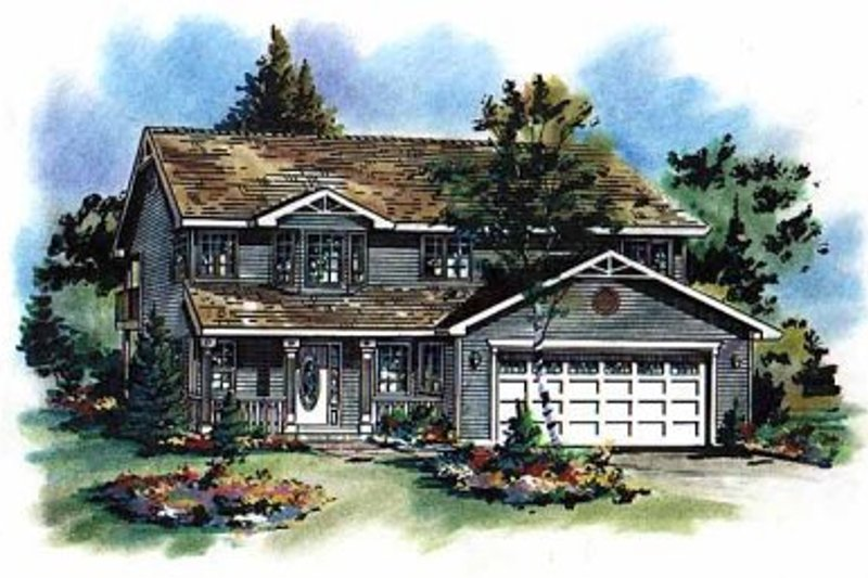 Farmhouse Style House Plan - 3 Beds 2 Baths 1324 Sq/Ft Plan #18-210 Exterior - Front Elevation