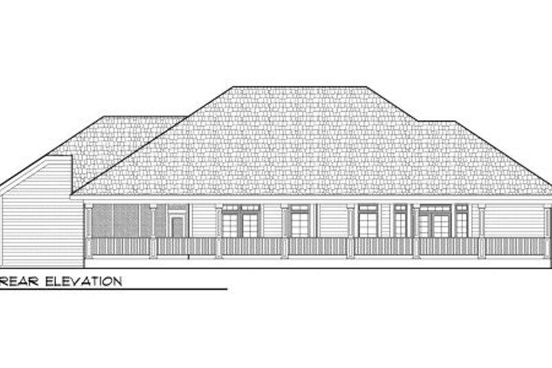 Traditional Exterior - Rear Elevation Plan #70-979 - Houseplans.com