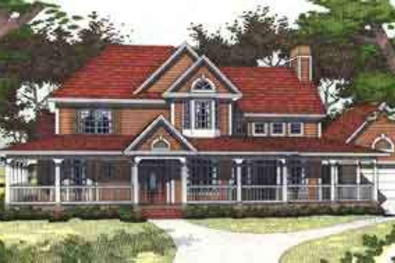 Dream House Plan - Farmhouse Exterior - Front Elevation Plan #120-129