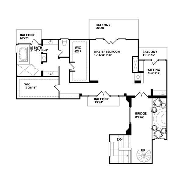 Mediterranean Floor Plan - Upper Floor Plan Plan #515-26