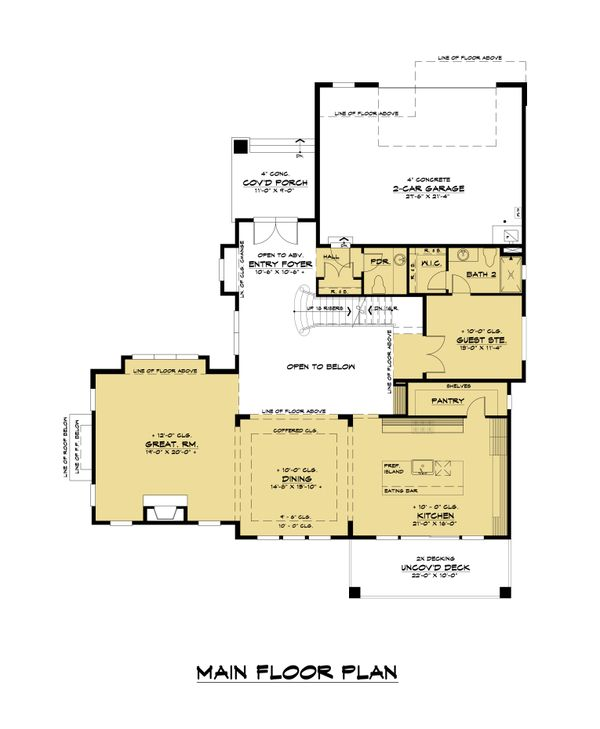 Contemporary Floor Plan - Main Floor Plan Plan #1066-117