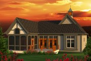 European Style House Plan - 2 Beds 2 Baths 1625 Sq/Ft Plan #70-1161 Exterior - Rear Elevation