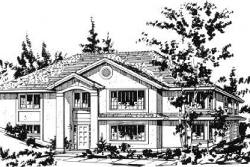 European Style House Plan - 3 Beds 2 Baths 2136 Sq/Ft Plan #18-9129 Exterior - Front Elevation
