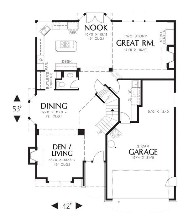 Craftsman Floor Plan - Main Floor Plan Plan #48-173