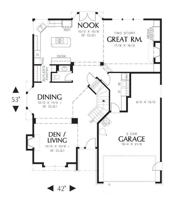 Craftsman Floor Plan - Main Floor Plan Plan #48-173