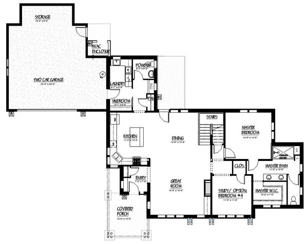 Craftsman Floor Plan - Main Floor Plan Plan #895-83