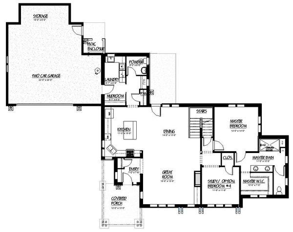Craftsman Style House Plan - 4 Beds 3 Baths 2663 Sq/Ft Plan #895-83 Floor Plan - Main Floor Plan