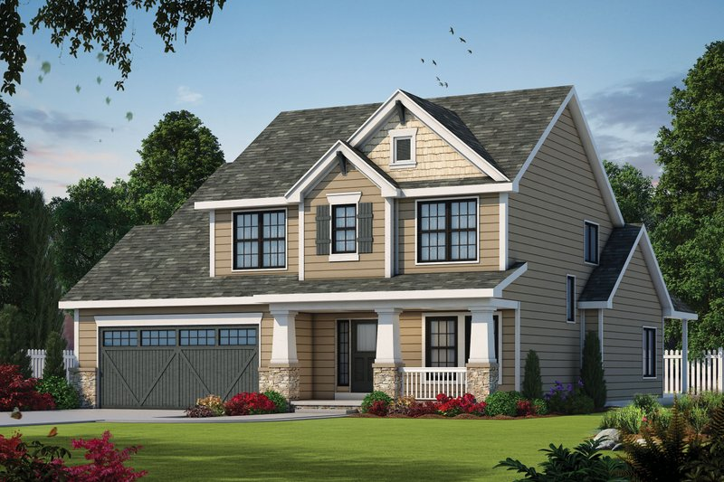 Dream House Plan - Craftsman Exterior - Front Elevation Plan #20-2154