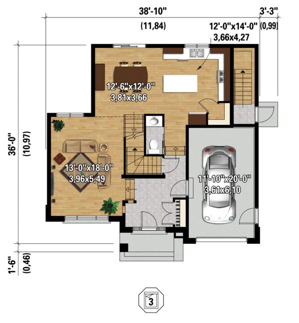 Contemporary Floor Plan - Main Floor Plan Plan #25-4379
