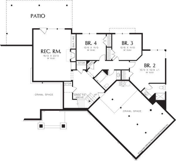 Craftsman Floor Plan - Lower Floor Plan #48-467