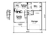 Bungalow Style House Plan - 4 Beds 2 Baths 1480 Sq/Ft Plan #20-2082 Floor Plan - Main Floor Plan