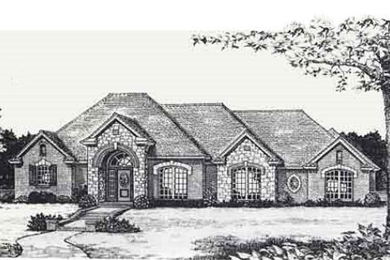 Traditional Style House Plan - 3 Beds 0 Baths 2401 Sq/Ft Plan #310-820 Exterior - Front Elevation