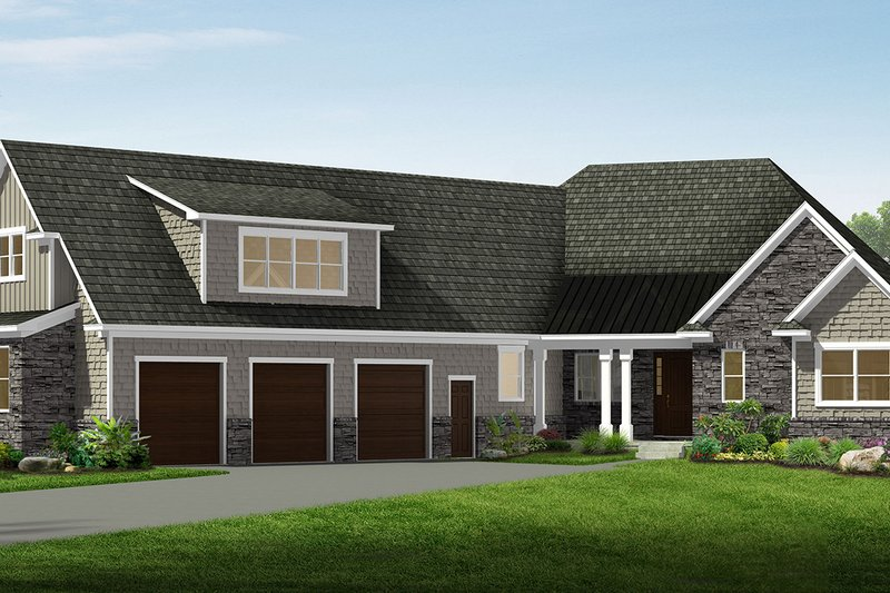 Craftsman Style House Plan - 3 Beds 3.5 Baths 4510 Sq/Ft Plan #1057-17 Exterior - Front Elevation