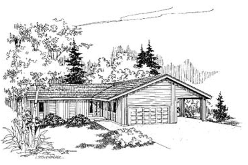Ranch Exterior - Front Elevation Plan #60-106 - Houseplans.com