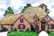 European Style House Plan - 4 Beds 3 Baths 2407 Sq/Ft Plan #52-110