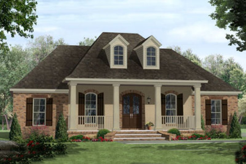 Southern Exterior - Front Elevation Plan #21-305