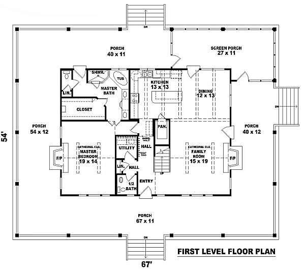Country Floor Plan - Main Floor Plan #81-101
