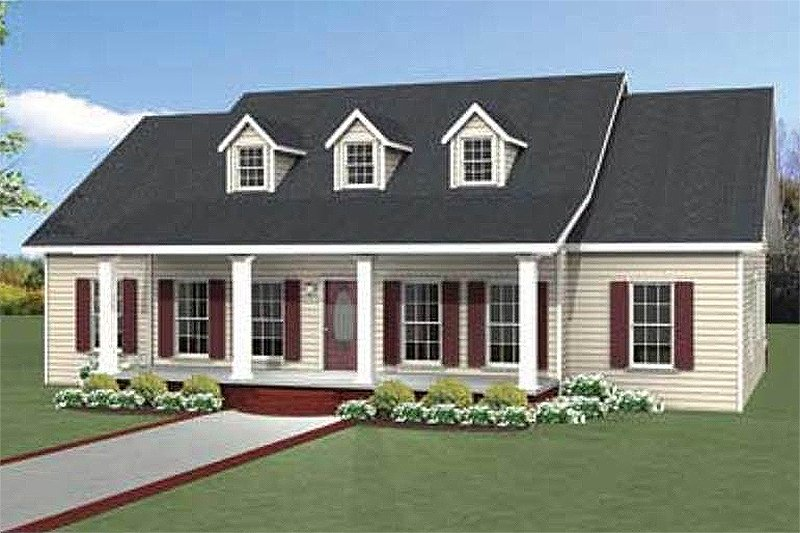 Southern Style House Plan - 3 Beds 2.5 Baths 1958 Sq/Ft Plan #44-189 Exterior - Front Elevation