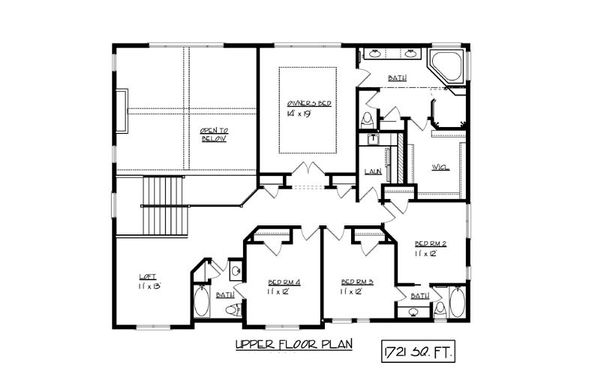 European Floor Plan - Upper Floor Plan Plan #320-499