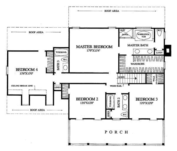 Colonial Floor Plan - Upper Floor Plan #137-145