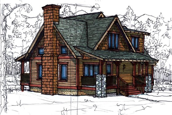Cottage Exterior - Front Elevation Plan #921-2