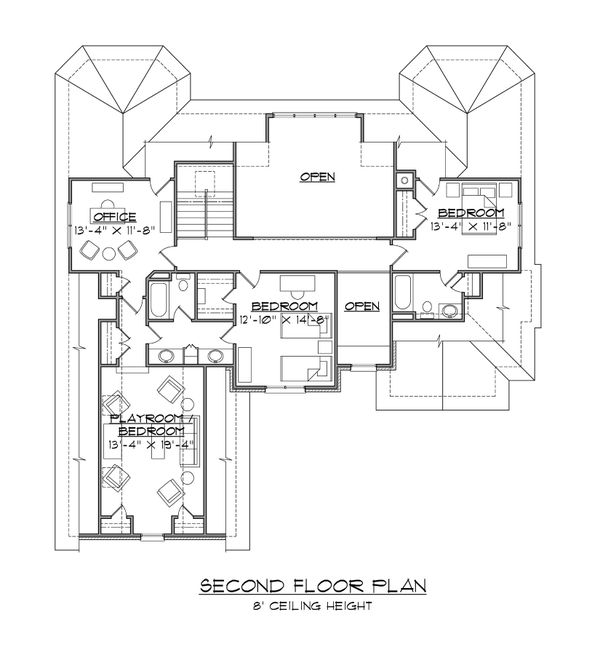 House Plan Design - Traditional Floor Plan - Upper Floor Plan #1054-79