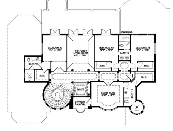 Mediterranean Floor Plan - Upper Floor Plan Plan #548-3