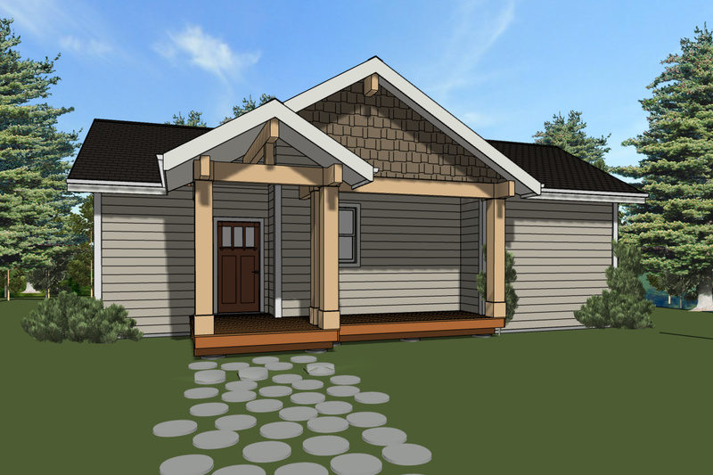 Cabin Style House Plan - 2 Beds 2 Baths 813 Sq/Ft Plan #504-7 Exterior - Front Elevation