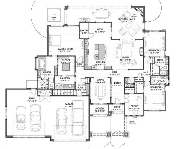 Adobe / Southwestern Floor Plan - Main Floor Plan Plan #1069-22