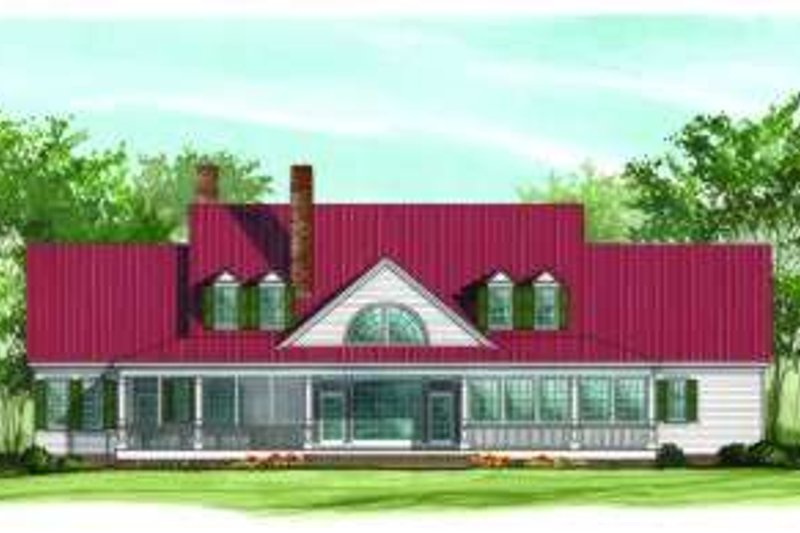 Farmhouse Exterior - Rear Elevation Plan #137-190 - Houseplans.com