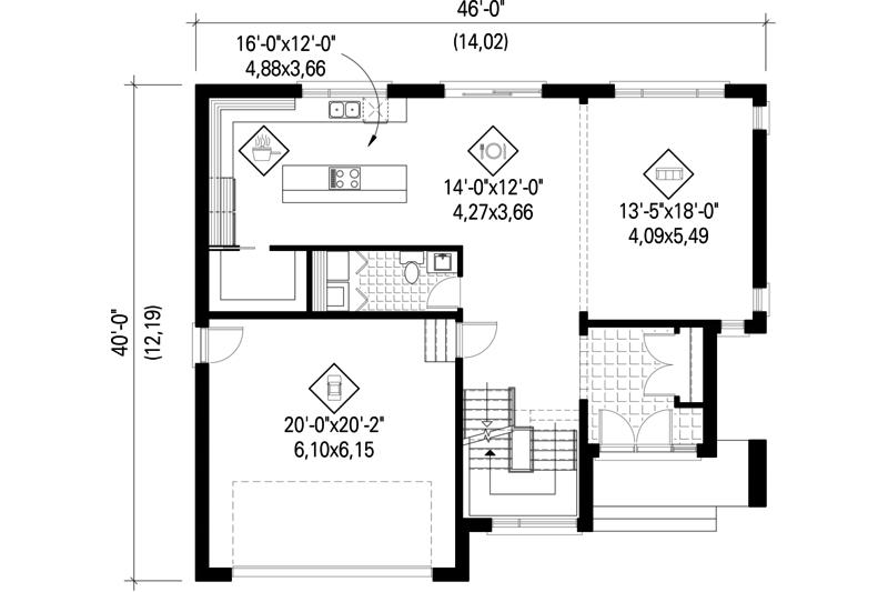 Contemporary Floor Plan - Main Floor Plan Plan #25-4280