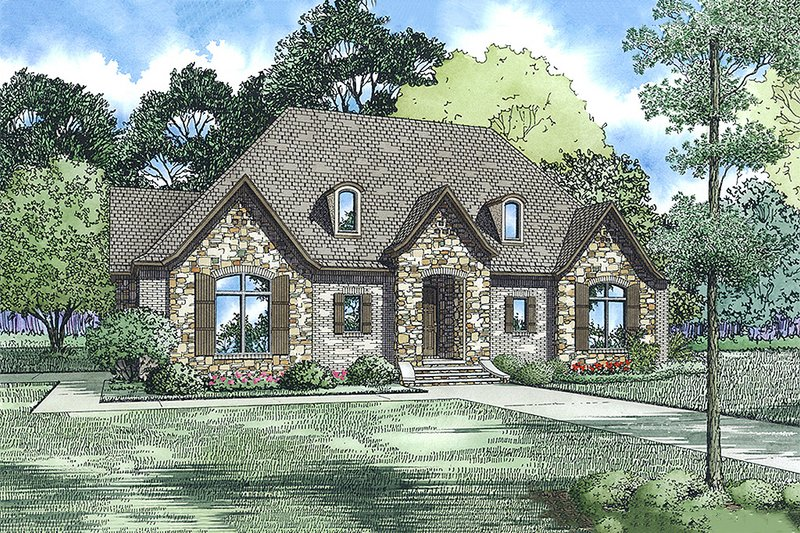 European Style House Plan - 3 Beds 3 Baths 2498 Sq/Ft Plan #17-2548 Exterior - Front Elevation
