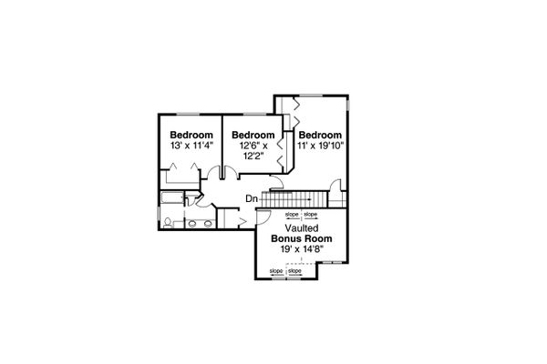 Craftsman Floor Plan - Upper Floor Plan Plan #124-1212
