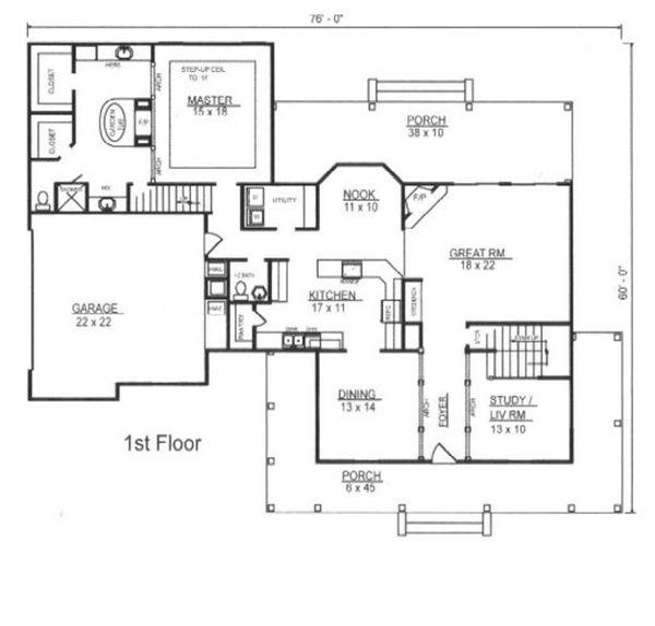 European Floor Plan - Main Floor Plan Plan #14-255