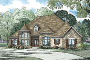 European Style House Plan - 4 Beds 3 Baths 3090 Sq/Ft Plan #17-2561 Exterior - Front Elevation