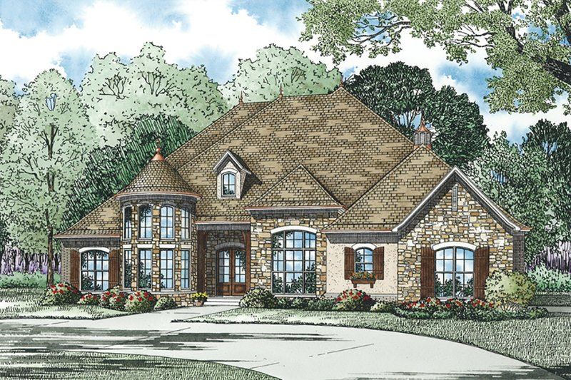 Dream House Plan - European, Front Elevation, 4 Bed Rooms