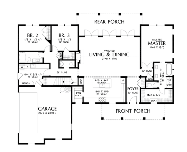 Contemporary Floor Plan - Main Floor Plan #48-1000