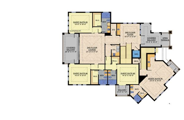 Contemporary Floor Plan - Upper Floor Plan #548-25