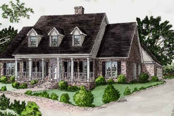 Southern Exterior - Front Elevation Plan #16-219